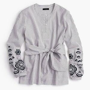 J. Crew Tie Front Embroidered Tunic Top